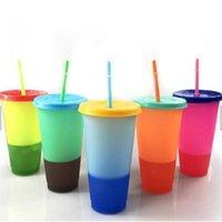 24oz تغيير لون زجاجة كأس ماجيك المياه مع غطاء والقش البلاستيك الشرب البهلوانات البيرة عصير القهوة الأقداح درجة الحرارة الاستشعار عن E82003