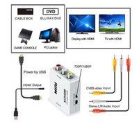 HDMI TO AV Scaler Adapter HD Video Converter Box HDMI zum RCA AV / CVSB L / R Video 1080P HDMI2AV Unterstützung NTSC PAL für Mini