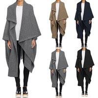 Wełna damska mieszany 2021 Zanzea Kobiety Wodospad Długie Trench Coats Winter Luźne Kurtki Cardigan Lapel Neck Cape Poncho Femininas Solid