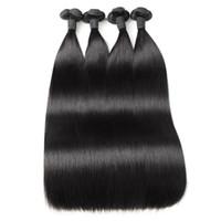 Ishow Funmi Włosy 100a Dwuosobowe Dwuosobowe Proste Ludzkie Wiązki Włosów 3/4 Sztuk Brazylijski Peruwiański Malezyjski Indian Hair Extensions dla kobiet w każdym wieku 8-28 cali naturalny kolor