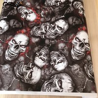 PVC Graffiti Adhesive Skull Sticker Decal Camouflage Skull Sticker Bomb Vinyl Film Car Motorcycle Roof Hood Film Wrap Foil with Air Release
