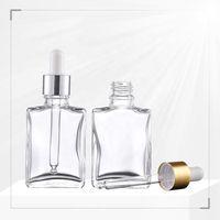 Preiswerter Preis 30ml Klarglas Dropper Ätherisches Öl Flaschen Kosmetik 30 ml Glaspipette Flaschen mit Gold-Silber-Schwarz-Cap