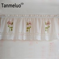Nova chegada 45 cm de altura x 150 cm de largura cortinas de cozinha pura flor café bordados prontas janela curta cortina de decoração