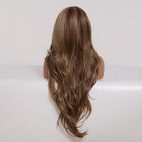 qualityLong Brown Ombre Lace frente perucas sintéticas com cabelo do bebê Lace Wigs por Mulheres High Density diário resistente ao calor peruca