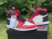2020 Otantik 1 Yüksek OG WMNS Saten Yılan Açık Ayakkabı Erkek Kadın Spor Salonu Kırmızı Beyaz-Siyah Açık Spor Sneakers Orijinal Kutusu ile