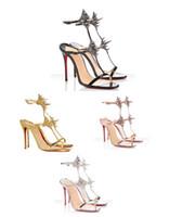 2020 Novidade Sexy Open Toe Ankle Strap Mulher Sandal Ouro Preto Salto Fino Sandália Verão Sapatos de Salto Alto Sapatos Rivet Dress Sandal EU35-42