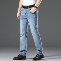Hohe Qualität Solid Color Jeans Mens dünne gerade Jugend Business Casual Pants Male Plus Size Slim Fit Jeans Hosen MX200814