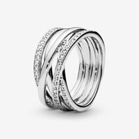 새로운 브랜드 정통 925 스털링 실버 스파클링 세련된 라인 여성을위한 결혼 반지 패션 쥬얼리