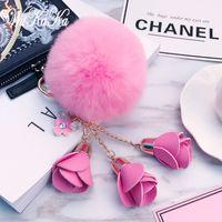 Fashion Fluffy Puff Ball-Leder-Rosen-Blumen Pompom Keychain Auto Schlüsselanhänger Ring für Frauen-Handtaschen Schmuck 2020