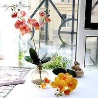 장식 꽃 화 환 유럽 인공 꽃 럭셔리 라텍스 pu 난초 나뭇잎 나뭇잎 나비 난초 가짜 장식 홈 wedddin