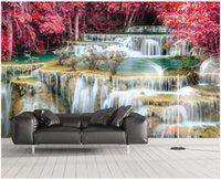 Обои на заказ Пользовательские PO Срушающие 3D обои клен лес реки пейзаж телевизор фон стены домашнего декора фрески для стен 3 д