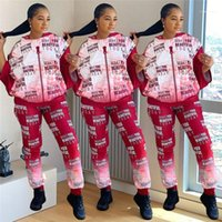 Fashion Gradient Womens Designer Tracksuits Loose Hooded Sports Famela Clothing Women Letter Print Two Piece Pants