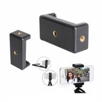"""Selfie-Stick-Stativ-Telefon-Clip-ausziehbare Breite 55-85mm Smartphone-Griffe zwei 1/4 """"weibliche Schraube horizontal Vertikal Shooting Telefonhalter"""