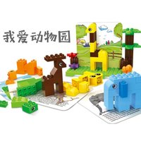 100pcs Larger particles building blocks DIY children popular science educational toys I love the zoo puzzle assembling creative gift 01