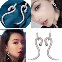 personalidad de la moda europea-venta caliente S925 pendientes de la aguja de plata de la joyería femenina S-serpiente micro incrustaciones de circonio regalos pendiente largo
