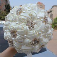 18cm élégant de mariée ivoire Bouquets de perles satin rose perles en cristal Broche point de mariage Fleurs Bouquets W42