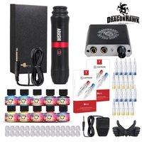 Dragonhawk Tattoo Kit Rotary Motor Pen Machine 10 Color Inks Power Supply Cartridges Needles D3069