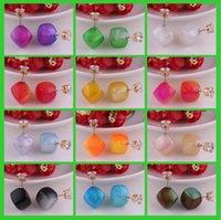 Nuove donne di modo Paragrafo orecchini doppio lato brillante tallone quadrato (16mm 8mm) orecchini di cristallo Orecchini grande perla selezione 12 colori