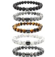8 millimetri di pietra naturale in pietra lavica turchese branelli dell'occhio della tigre ematite del braccialetto di Diy Glamour gioielli braccialetto per le donne degli uomini in rilievo fili Bracciali