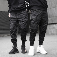 Men Black Pocket Cargo Pants Ribbons Block Slim Pencil Pants...
