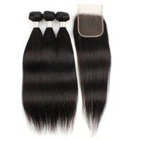 Kisshair cor natural retas 3 pacotes com cabelo humano fechamento 100% feixes trama do cabelo virgem indiano brasileiro