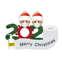 Inicio caliente festiva 2020 muñeco de nieve cuarentena Etiqueta de Navidad la decoración del hogar regalo familia con máscara mano Sanitized