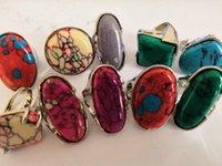패션 다채로운 자연 석재 여성 실버 도금 된 반지 새로운 도매 많이 쥬얼리 매력 보석 반지 25pcs / lot