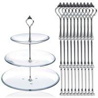 10 Satz von 3 Tier drei Schichten Kuchenteller Ständer Halter Crown Metallstab Montage Hardware Rod-Platten-Halter Silber