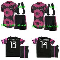 2020 Mexique Jersey Soccer Jersey National Mexique Away Rose 20 21 Noir Chiharito Lozano Guardado Carlos Vela Raul Chemises de football Hommes Enfants + Chaussettes