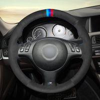 DIY руки пришиты замша руль чехол для BMW 3-й серии E46 / 5 2004, 5 серия E39 2002-03 / м3 2001-06 / M5 2000-03