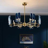 포스트 모던 클래식 등 럭셔리 거실 샹들리에 전체 구리 유리 LED는 창조적 인 개성 침실 연구 조명 램프