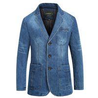 Giacca di jeans di marca Uomini Autunno Blazer Giacca Slim Fit militare monopetto Turn-down Collar Jeans Coat Plus Size XXXXL CX200817