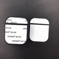 Caja de sublimación en blanco para Apple AirPods 1 2 Pro Funda inalámbrica de plástico para los auriculares con placa de aluminio imprimible Insttern