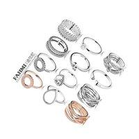 FAHMI 100% 925 bijoux en argent sterling Zircon charme gouttes d'eau en forme de coeur Etoiles Bague ronde arc creux Rose Bague en or