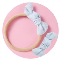 Solid Baby Girl Bows Nylon Headbands Kids Bowknot Headwraps Elastic Hair bands 2020 Toddler Headwear Fashion Hair Accessories