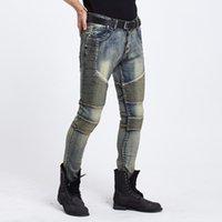 Wholesale & retail Mens Skinny jeans men new brand Runway slim elastic denim Biker jeans hiphop motorcycle Cargo pants MX200814