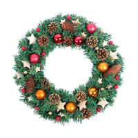 الزهور الزهور أكاليل الاصطناعي عيد الميلاد اكليلا الباب الأمامي شنقا عيد الميلاد جارلاند الحلي نافذة منزل جدار ديكور الهدايا