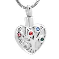 Árbol de acero inoxidable de la vida del corazón cremación colgante con cristales cenizas urna para mascotas / Humano del recuerdo de la joyería del encanto del Memorial