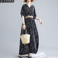 DIMANAF Plus Size Abbigliamento Donna Vestito Elegante signora Vestiti estate Sundress Boemia della stampa floreale allentato Maxi Long Dress Belt