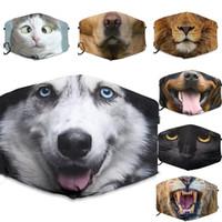 Impresión 3D Funny Face Mask Protective Ear-colgante Cubierta de animales Impresión animal Lavable Reutilizable Boca Adultos Unisex Máscaras
