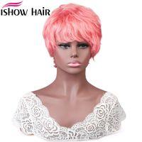 Isola Brasiliana Straight Wave Capelli Umani Parrucche con Bangs Hot Pink Boy Girl Girl Costume Parrucche peruviana Colorata Nessuno Pizzo Parrucca bagnata e ondulata