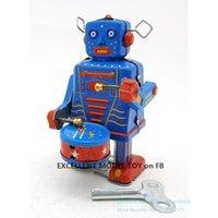 NB Tinplate Retro Aufzieh-Roboter, Can Drum Walk, Aufziehspielzeug, Nostalgisch Ornament, für Kinder, Geburtstag, Weihnachten Boy Geschenk, Collect, MS514, 2-1