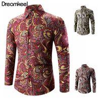 Homens primavera Única vez gola inverno bridado botons camisa outono longo partido paisley impresso moda manga para baixo casual 5xl y