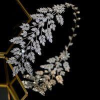 Asnora Moda Kadın Saç Gelin Takı ile Tiara Düğün Kafa Takı Yaprakları Bırakır Kafa Zirkonya Kristal Taç T200110