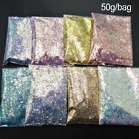 Tırnak Glitter 50g Lazer Gevreği UV Jel Lehçe Mix Holo Sanat Dekorasyon Holografik Sequins için Sparkly Püskürtüler Parajı MT09B