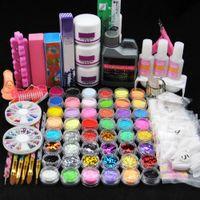 Pro Kit para uñas de acrílico del polvo del brillo completo del sistema de manicura para uñas Arte Líquido Decoración Consejos Crystal Brush Kit de Herramientas para la manicura
