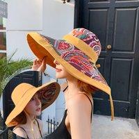 Wide Brim Cappelli Femmina Etnica Etnica Pescatore Aumento del Fang Shai Mao Turismo Penna ombreggiatura all'aperto Penna a doppia facciata