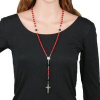 Collane pendenti in pietra rossa naturale 8mm perline religiose collana croce rosario rosario St Benedict connettori