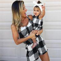 أم فتاة عائلة تصميم أكمام بذلة أمي ابنة رومبير المرأة الطفل بنات أزياء منقوشة الأسرة مباراة وتتسابق الملابس LY824
