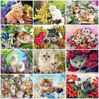 AZQSD DIY pintura por números na lona Kits Cat Unframe decoração para a casa Coloring By Numbers Presente pintado à mão animal